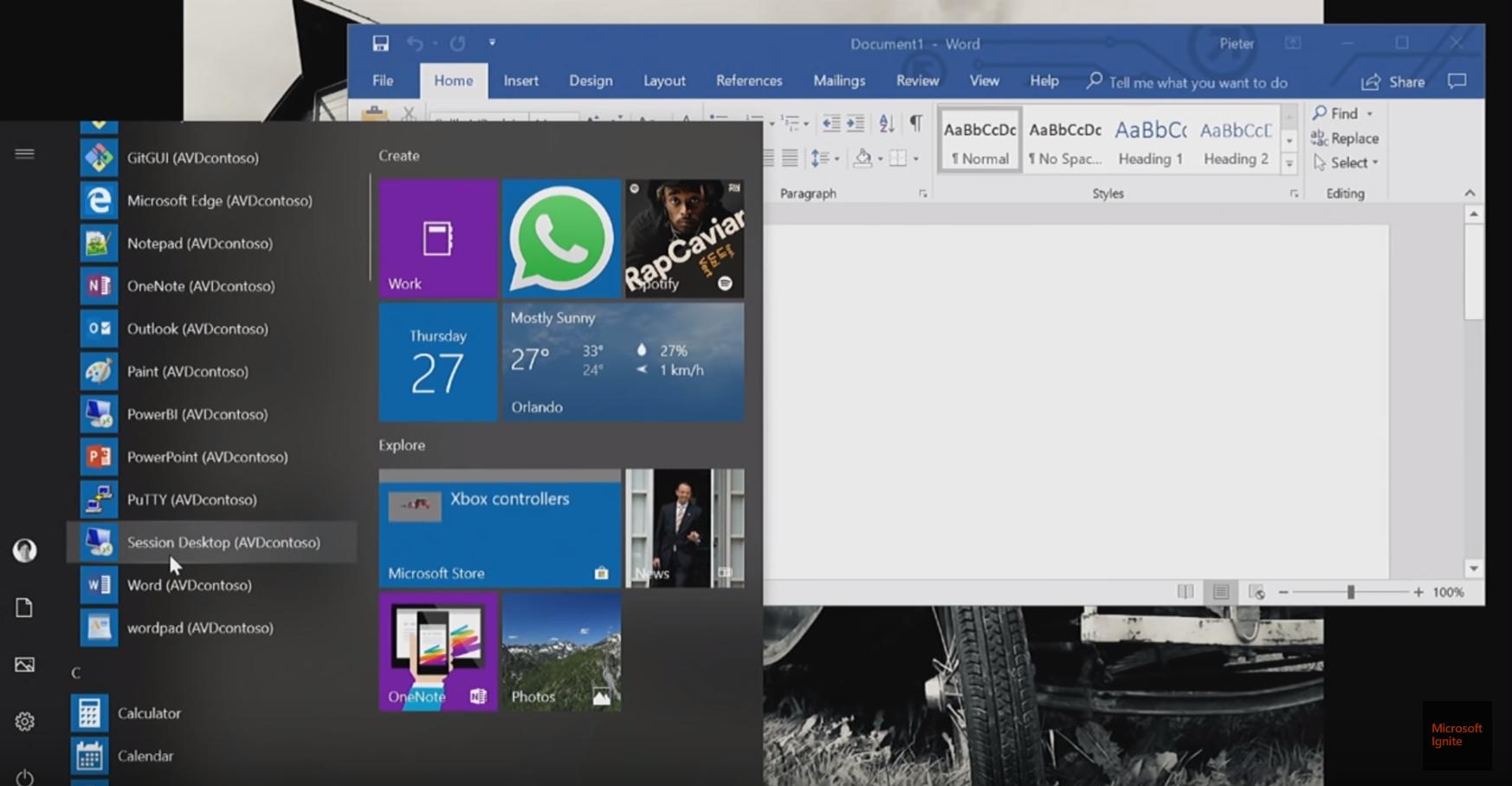 Azure Virtual Desktop(AVD)デスクトップ画面
