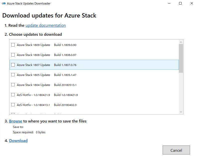 Download updates for Azure Stack