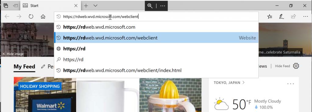 Microsoft Edgeを起動してWVDのWebクライアントに接続