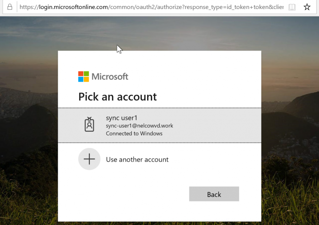 Azure ADの認証ページでアカウント情報を選択