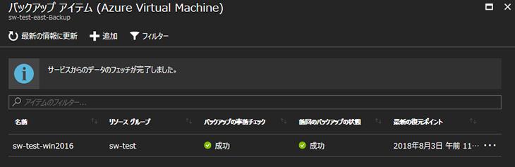 Azure Backup完了後のバックアップアイテム画面