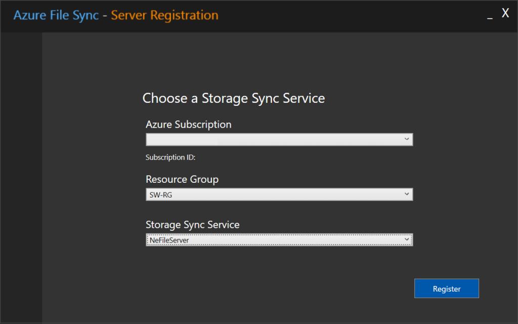 Azure File Syncサインイン