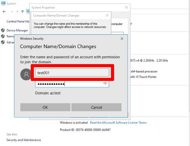 AAD DC Administratorsに追加したユーザーアカウントを入力