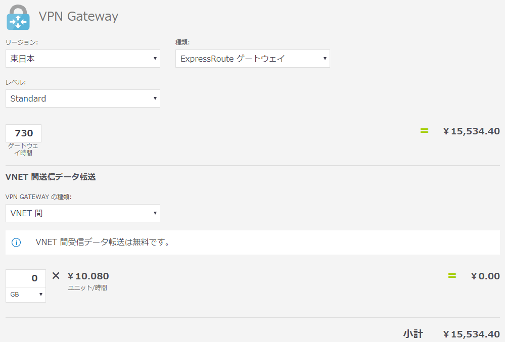 VPN Gatewayの計算