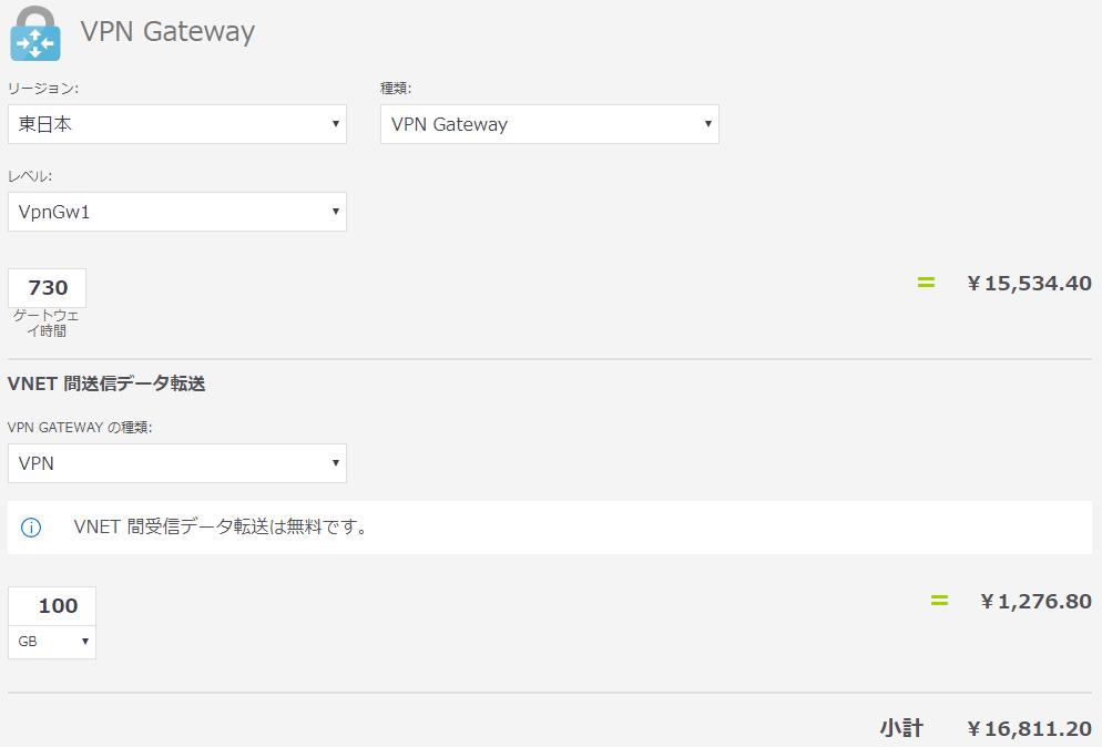VPN Gateway計算